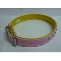 Pet Collar PVC with studs (Pink)