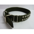 Pet Collar Nylon with Double Studs (Dark Green)