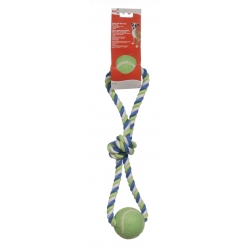 Dogit Striped Cotton Loop Tug with 2 Tennis Balls, Multi, 18-Inch